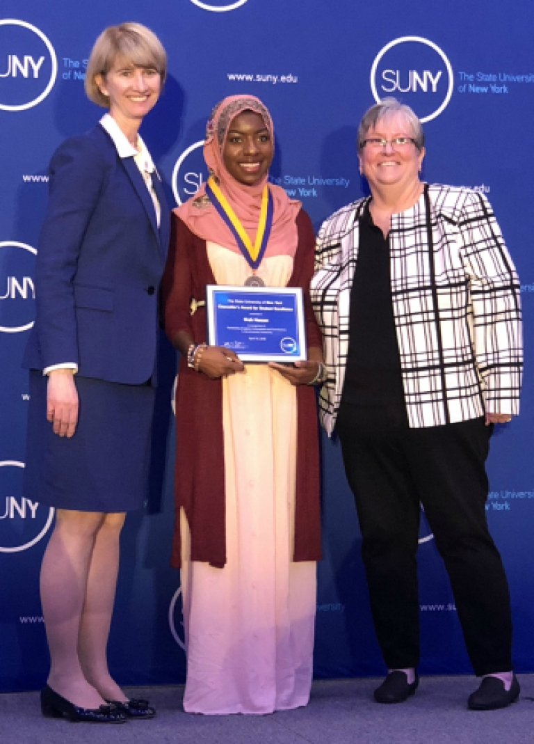 OPFC Utica Student Ifrah Hassan at SUNY Chancellors Awards with Chancellor and OCC President Casey Crabill 2018